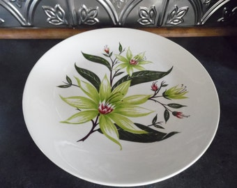Homer Laughlin Plate, Rhythm Line, Desert Lily Dinner Plate, Homer Laughlin Dish with Green Flowers, Green Lillies