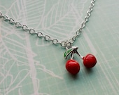 Cherry Necklace,Kitsch Cherry Charm Necklace,Cute Jewelry,Rockabilly Necklace,Pin Up Accessories,Summer Chic,Novelty Necklace,Retro Charms