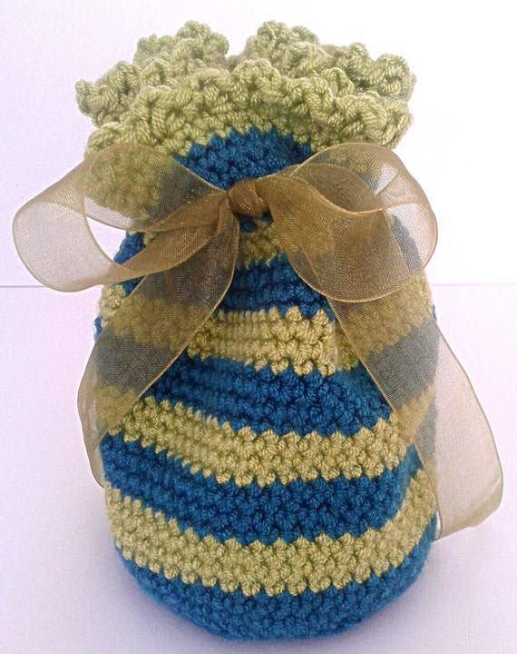Crochet Small Bag : Crochet Gift Bag Blue and Green Striped Small Gift Bag Tied With ...
