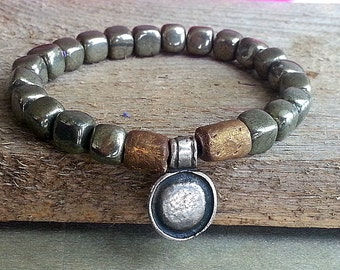 Boho bracelet, stretch beaded bracelet, pyrite, hippie bracelet, charm bracelet, hippy jewelry, Bohemian bracelet