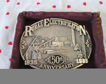 50th Anniverssary Rual Electrification Belt Buckle 1935-1985