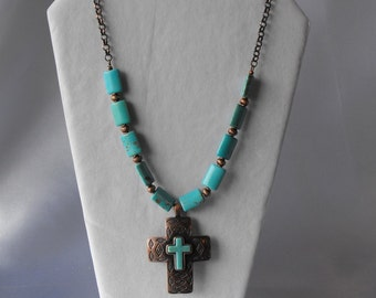 Antique Copper and Howlite Pendant Necklace - Statement Necklace  (BD-630)