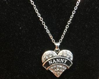 NANNY Rhinestone Heart Charm Necklace