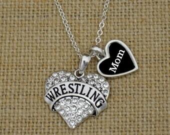 Wrestling Mom Rhinestone Heart Necklace
