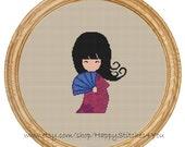 Cross Stitch Pattern PDF japanese girl DD0027