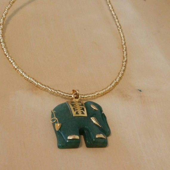 jade elephant necklace by stellasnook on etsy