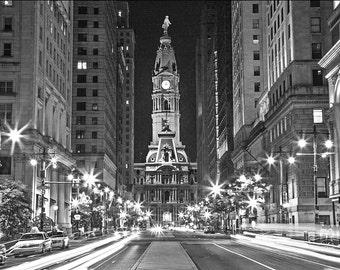 Philadelphia City Hall at Night Canvas Art (20x27)