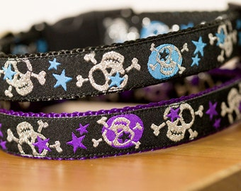 Metallic Skulls Dog Collar/ Purple / Black / Skulls / Dog Collar / Australia