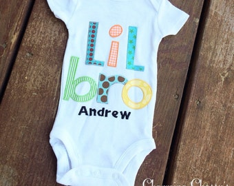 Little brother onesie baby boy lil bro personalized