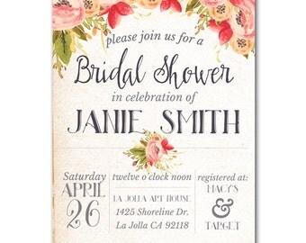 Bridal Garden Shower Invitation - Wedding Shower Invite customized and personalized - digital file