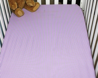 Fitted Crib Sheet | Purple and White Stripes