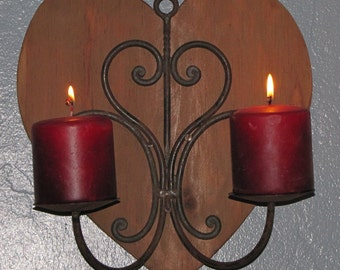 Wooden Heart with Rod Iron heart Candle holder
