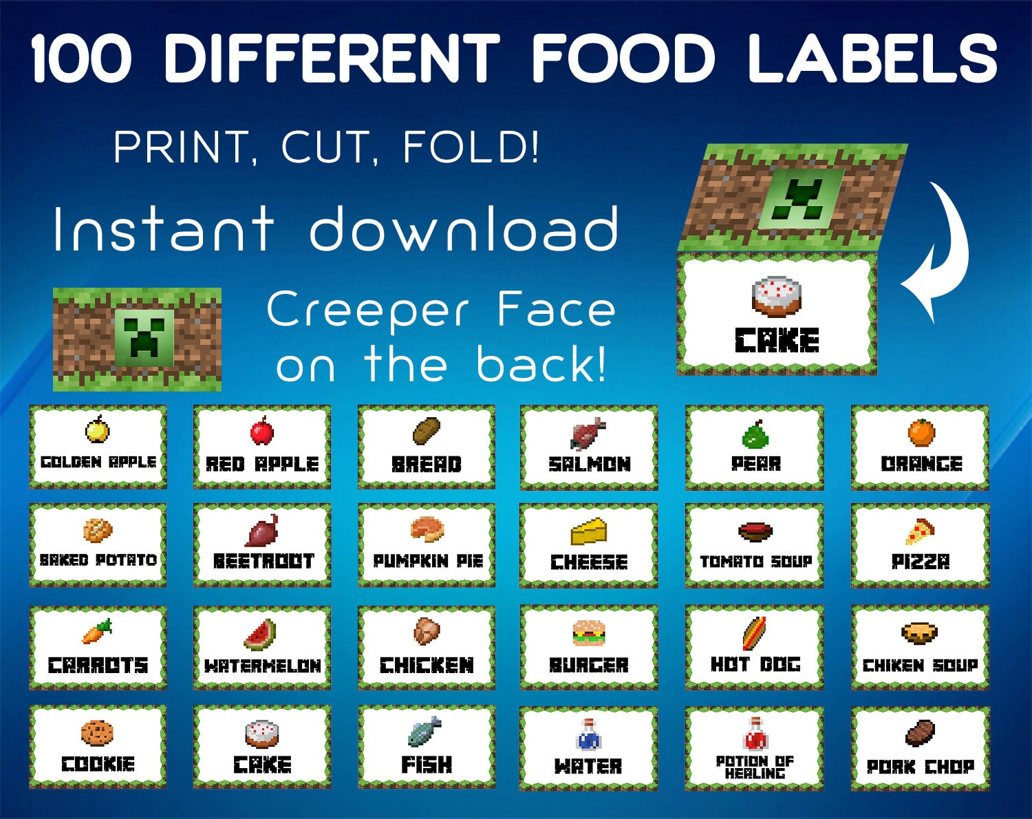 It is a picture of Gorgeous Minecraft Birthday Food Labels