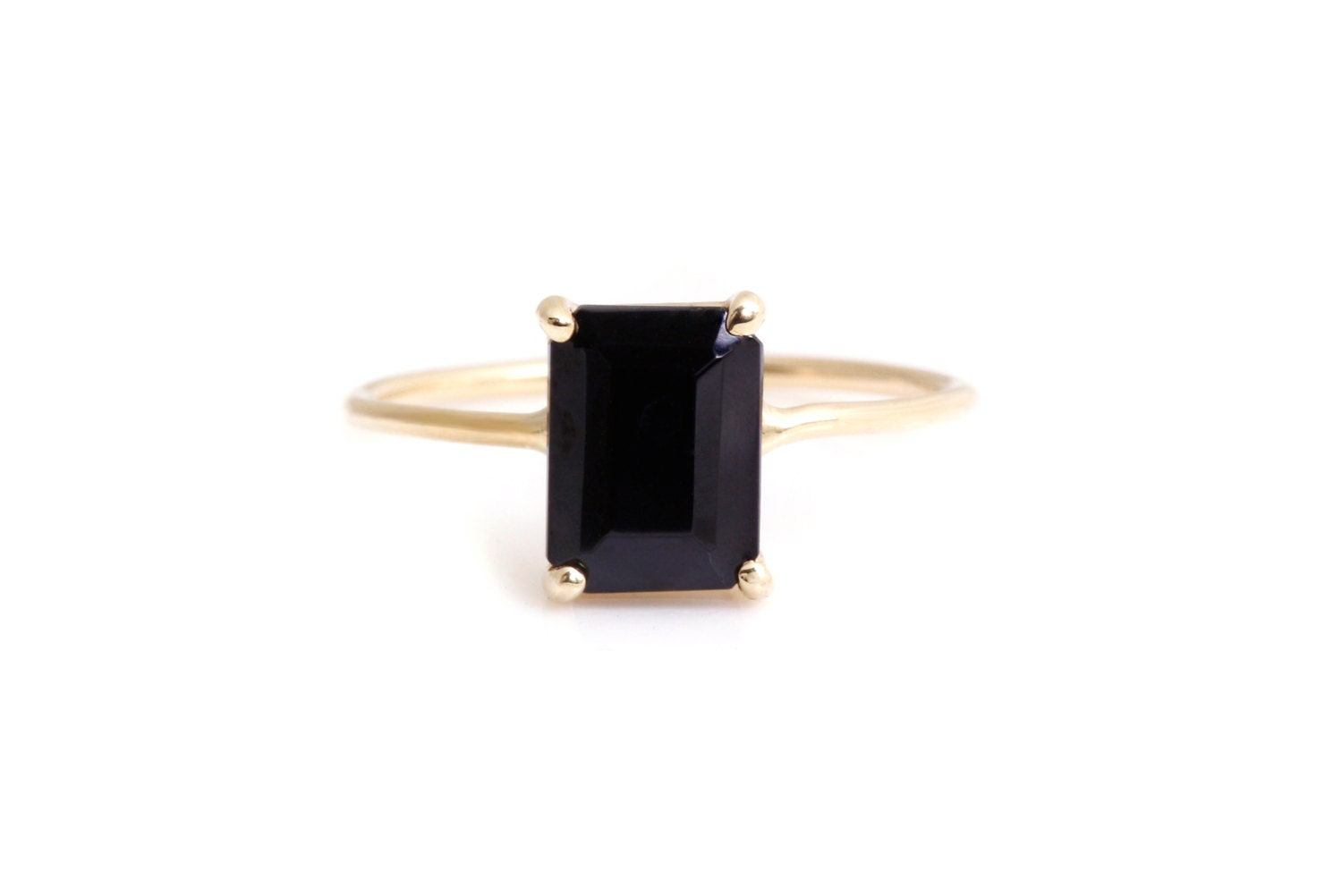 emerald cut black onyx ring 14k yellow gold basket wire by