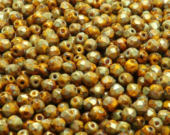 100pcs Czech Fire-Polished Faceted Glass Beads Round 4mm Opaque Yellow Travertine