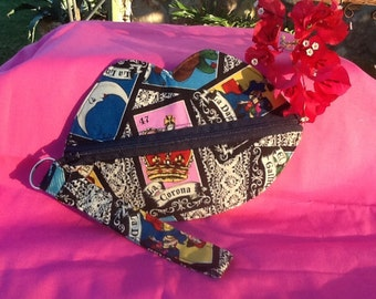 Wristlet bag - lip purse-lip wristlet with key fob cotton fabric chalupa or loteria print