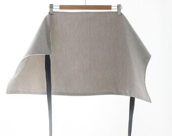 Unisex Striped Gray Linen Half Apron with Slate Gray Ties   s/f Designs   As seen in La Presse+