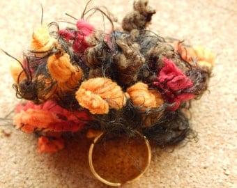 Fringes ring,handmade,adjustable ring