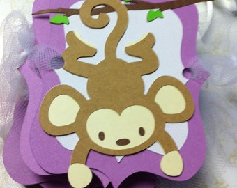 Purple Monkey Happy Birthday Banner OR Full Name Banner