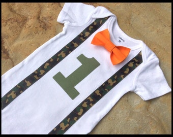 Boys First Birthday Outfit - Baby Boy Clothes - Hunter Orange and Camo First Birthday Outfit - Baby Boy Birthday Outfit - Boys 1st Birthday