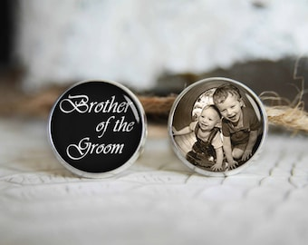 Brother of the groom personalized photo cufflinks, cool gifts for men, custom wedding silver plated or black cuff link