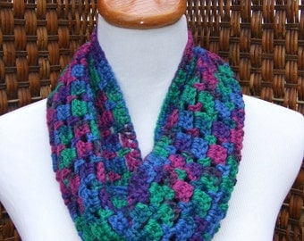 Colorful wool infinity scarf, crocheted wraparound cowl, circle scarf, blue, purple, green, pink