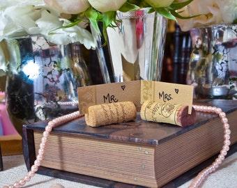 Set of 25 Wine Cork Place Card Holders - Weddings -Birthdays - Shower - Parties - Upcycled wine corks, Vineyard Wedding -