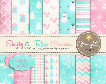 Shabby Retro Christmas, Christmas Digital Paper, Vintage Christmas Papers, Textured Holiday Digital Scrapbooking Paper, Pink and Blue Paper