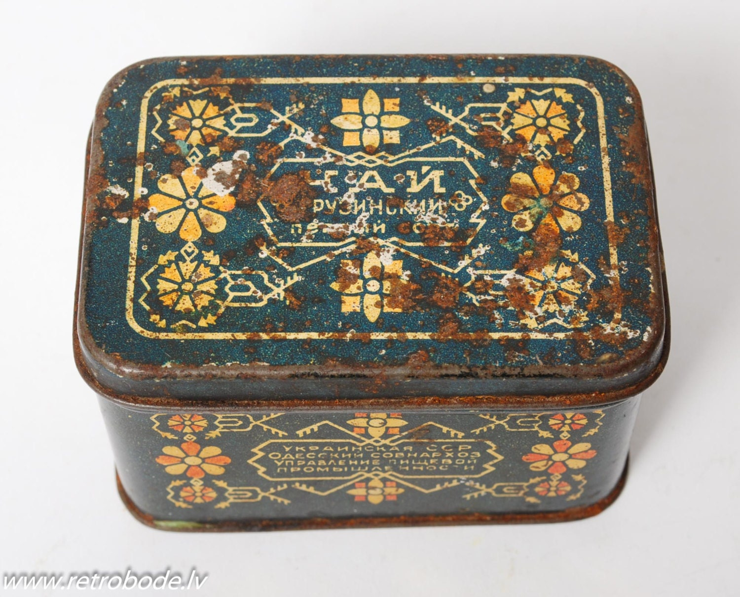 antique tin metal box case georgian tea ci576 by retrobode