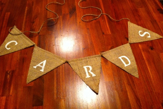 """Ready to ship! Burlap """"Cards"""" banner. Bridal shower, baby shower, wedding signs"""