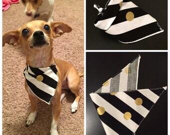 Black, white, gold tie on dog / cat bandana