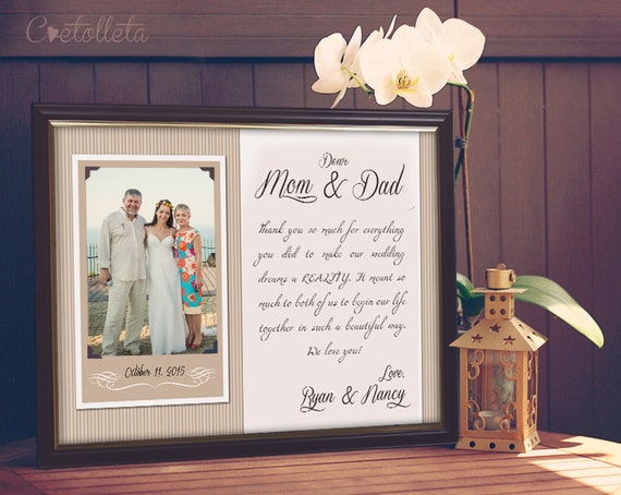 Parents wedding gift parents thank you gift wedding by for Best gifts for parents for wedding