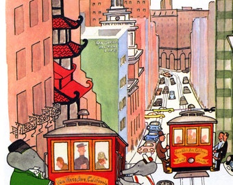 Babar the Elephant Poster, Riding the Trolly, Cable Car, San Franscisco, California