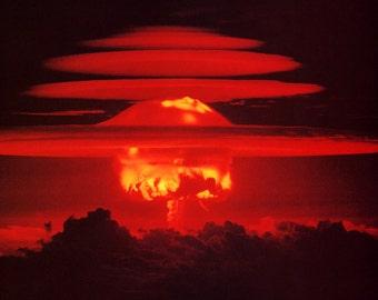 Hydrogen Bomb Poster, H-Bomb, Nuclear Explosion, War, Destruction