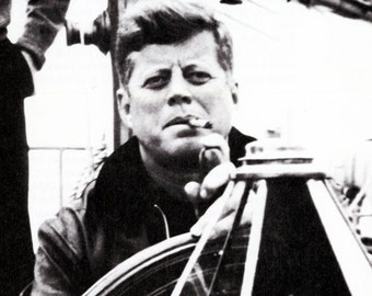 John F. Kennedy Poster, Smoking a Cigar, Sailing, President of the United States, Civil Rights Leader, Equality, Freedom