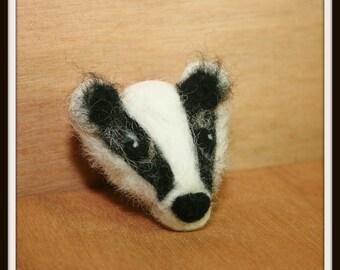 Badger Needle Felted Brooch, badger brooch - Made to order