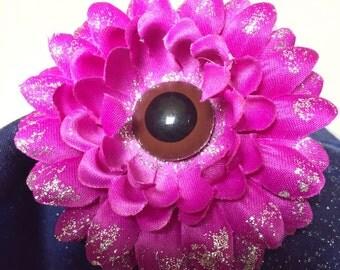 Purple Eyeball Single Flower Hair Clip