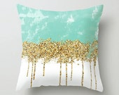 Aqua mint gold throw pillow cover - cushion cover