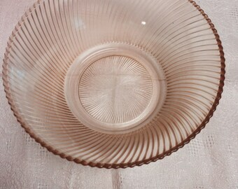 "Pink Depression Glass ""Diana""  9"" Serving Bowl - Great Gift Idea"