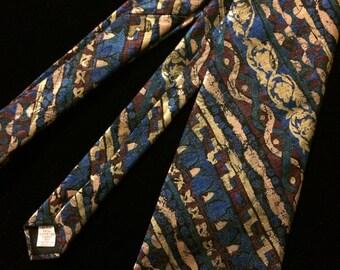 1980s Wembley Gold, Blue and Burgundy Iridescent Necktie