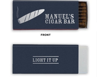 Cigar Bar Personalized Cigar Match Boxes - Party Favors, Custom Matches