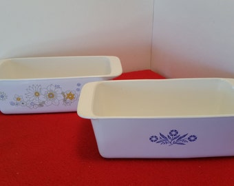 vintage corningware loaf pan 2 patterns to pick from / cornflower or floral bouquet