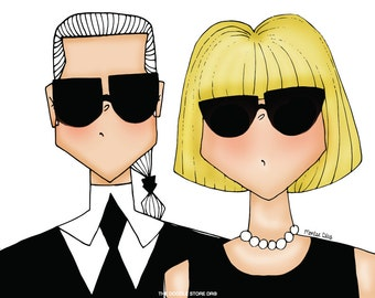 Anna Wintour and Karl Lagerfeld Illustration