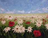 Field of Poppies and Daisies: Oil Painting in Palette Knife Style