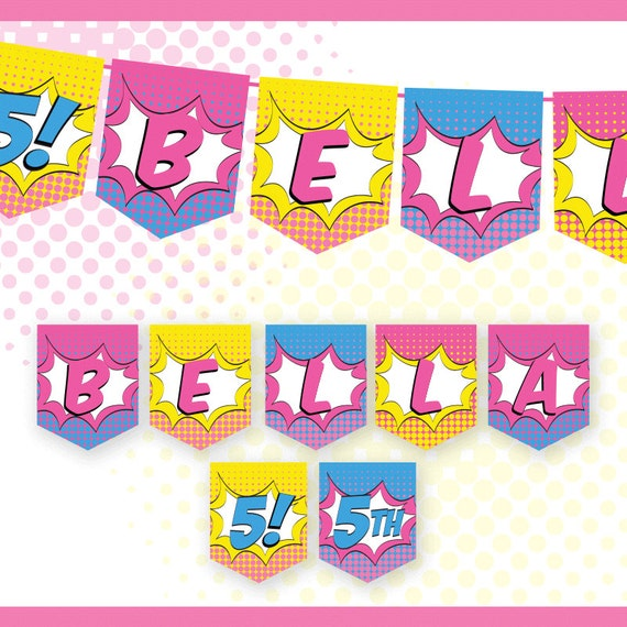 Superhero GIRL Birthday Banner Custom Name / Printable / Party