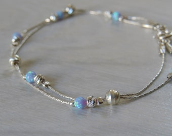 blue Opal bracelet, opal bead bracelet, opal silver bracelet, opal jewelry, tiny opal bracelet, beaded bracelet, mininal bracelet