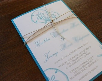 Beach Wedding Invitation Set, Starfish Wedding Invitation, Sandollar Wedding Invitation, Destination Wedding Invitation,Ocean Wedding Invita