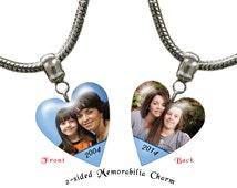 Custom photo charm, Personalized Large Hole photo charm, fits many European style charms bracelets, photo charm  including Pandora™: P000127