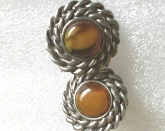 """Amber glass silver tone clip on earrings 3/4""""L"""