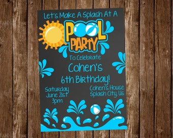 Chalkboard Pool Party Birthday Invitation
